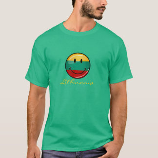 Round Smiling Lithuanian Flag T-Shirt