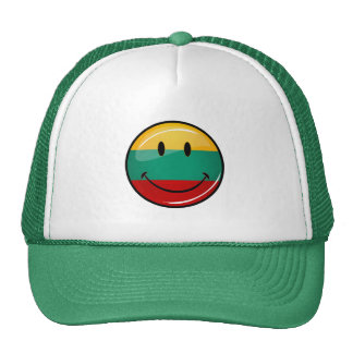 Round Smiling Lithuanian Flag Trucker Hat