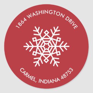 Round Snowflake Return Address Labels