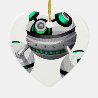 Round spaceship on white background ceramic ornament