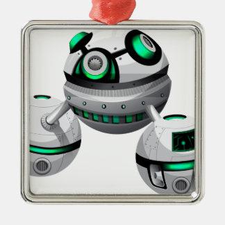 Round spaceship on white background metal ornament