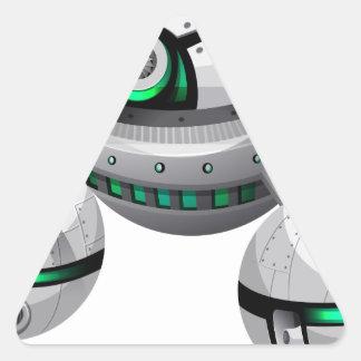 Round spaceship on white background triangle sticker