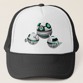 Round spaceship on white background trucker hat