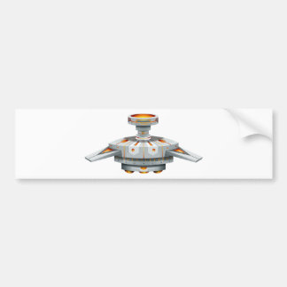 Round spaceship with wings bumper sticker
