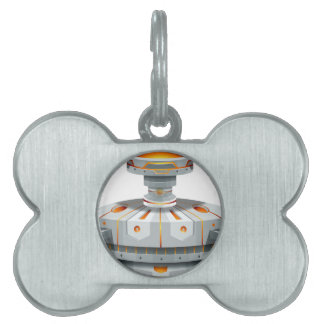 Round spaceship with wings pet tag