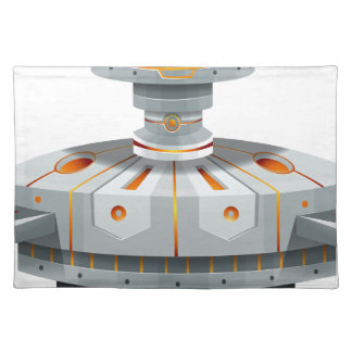 Round spaceship with wings placemat