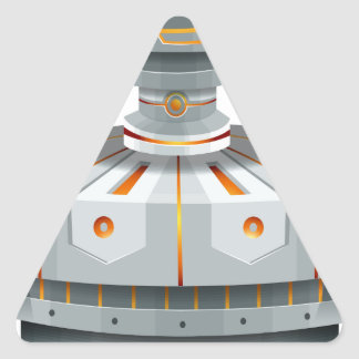Round spaceship with wings triangle sticker