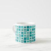 Round Squares Blue Espresso Mugs