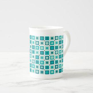 Round Squares Blue Porcelain Mug