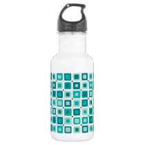 Round Squares Pattern Blue Water Bottle