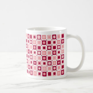 Round Squares Pink Classic White Coffee Mug