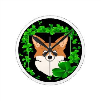 Round St Patrick's Cute cartoonBL.png Round Clock