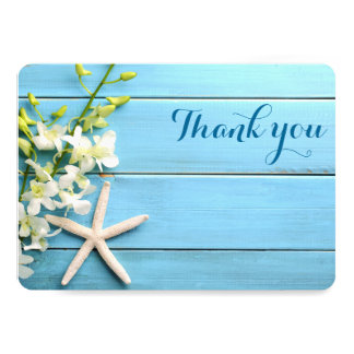 Round Starfish Wedding Thank You Cards With Orchid