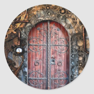 Round Steampunk Door Pocket Watch  Wedding Sticker