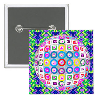 Round Steering Wheel Heart n White Moon fun 2 Inch Square Button