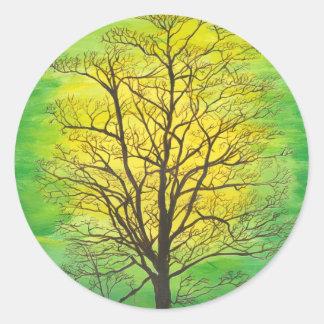 Round Sticker Green Tree