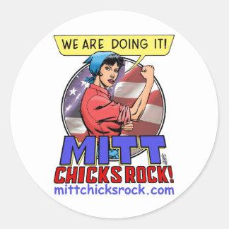 Round Sticker - Mitt Chicks Rock!