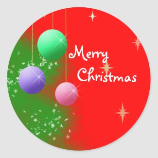 Pegatina Redonda - Ornamento de Navidad