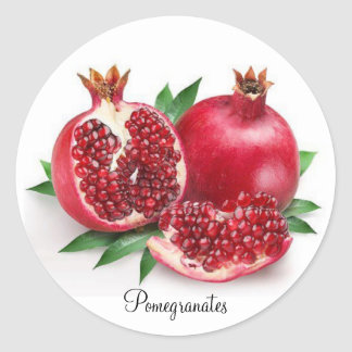 Round Sticker, Red Yummy Pomegranates Classic Round Sticker