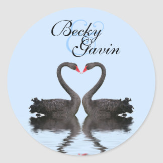 Round Sticker Seal Romancing Swans