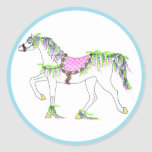 Round Sticker with Carousel Horse