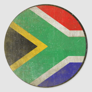 Round Sticker with Cool Flag from South Africa