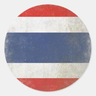 Round Sticker with Distressed Thailand Flag