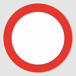 Round sticker with do not enter traffic sign.