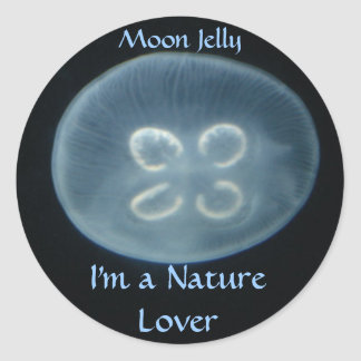 """Round sticker with """"Moon Jelly"""" picture"""