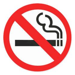 Round sticker with no-smoking symbol sticker