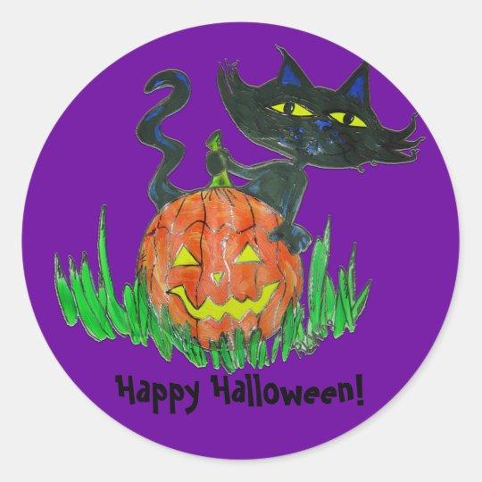 Round Stickers -HalloweenKitty
