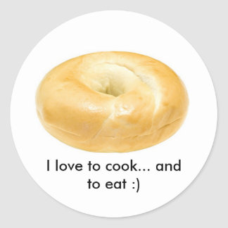 Round stickers with a bagel