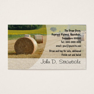 Round straw bales business card