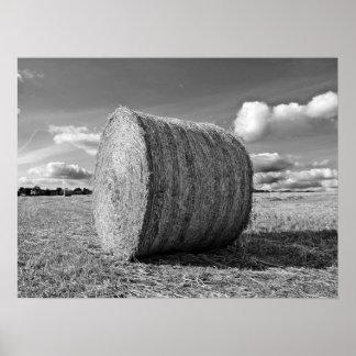 Round Straw Bales in Black & White Poster 2