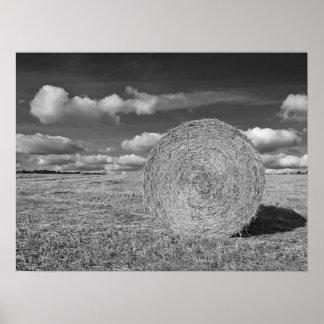 Round Straw Bales in Black & White Poster 3