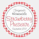 Round strawberry preserve or jam jar food label classic round sticker