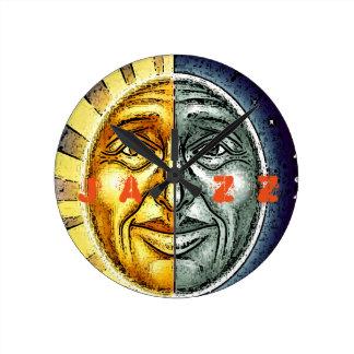 Round sun and moon jazz clock
