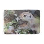 Round Tail Ground Squirrel Smelling the Flowers Bathroom Mat