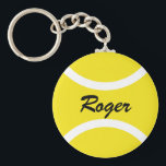 """Round tennis ball keychain   Personalizable name<br><div class=""""desc"""">Yellow tennis ball keychain gifts for tennis players,  coach and fans. Add your own text like a funny slogan,  quote,  joke,  saying or name. Cute Birthday party favor for men women and kids. (boy or girl),  Custom key chains with sports design.</div>"""