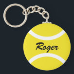 "Round tennis ball keychain | Personalizable name<br><div class=""desc"">Yellow tennis ball keychain gifts for tennis players,  coach and fans. Add your own text like a funny slogan,  quote,  joke,  saying or name. Cute Birthday party favor for men women and kids. (boy or girl),  Custom key chains with sports design.</div>"