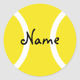 Round tennis ball sticker with customizable text