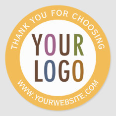 Round Thank You Stickers Business Logo Promotional at Zazzle