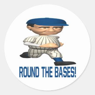 Round The Bases Classic Round Sticker