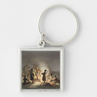 Round the Camp Fire (colour litho) Key Chain