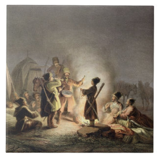 Round the Camp Fire (colour litho) Tile