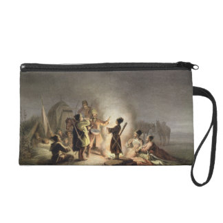 Round the Camp Fire (colour litho) Wristlet Purse
