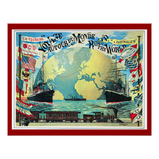 Round the World Voyage, 1890 Vintage Travel Poster