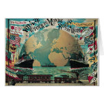 Round The World Voyage Vintage Poster Art