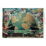 Round The World Voyage Vintage Poster Art Card