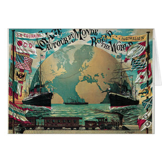 Round The World Voyage Vintage Poster Art Greeting Card